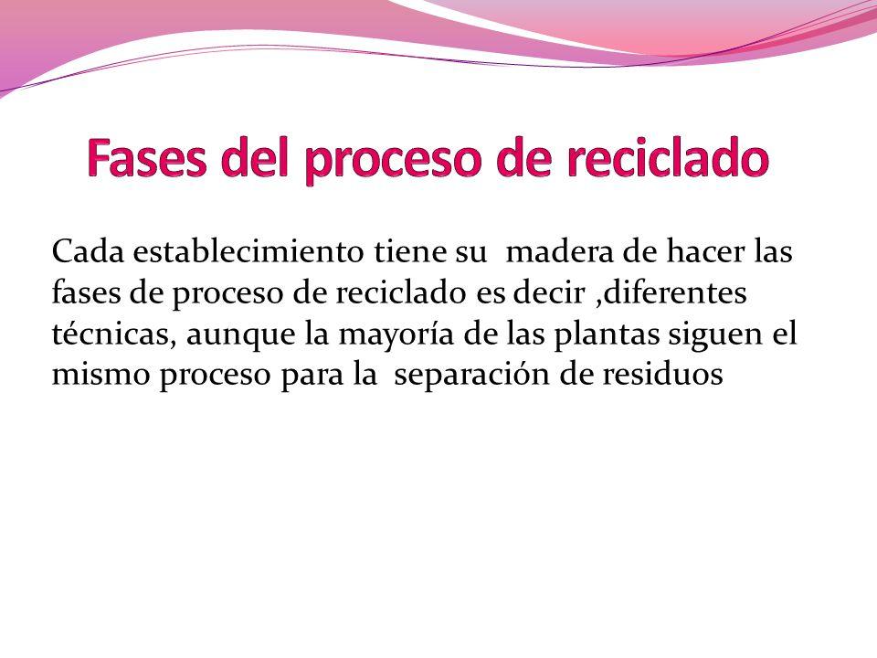 Fases del proceso de reciclado