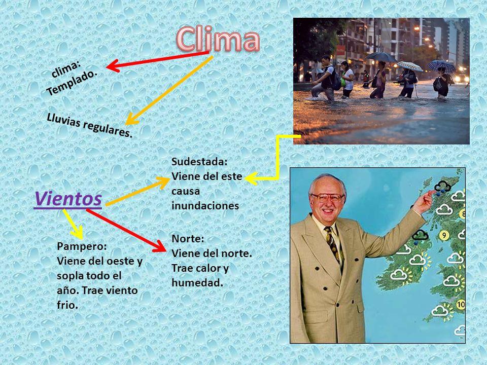 Clima Vientos clima: Templado. Lluvias regulares. Sudestada:
