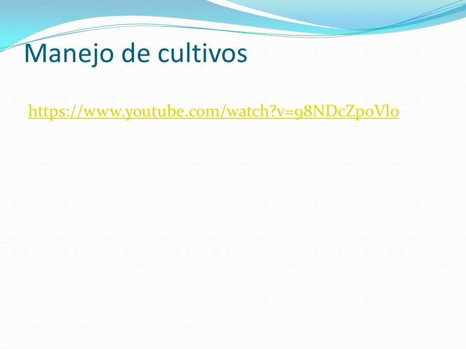 Manejo de cultivos https://www.youtube.com/watch v=98NDcZpoVlo