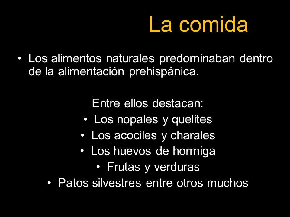 La comida Los alimentos naturales predominaban dentro de la alimentación prehispánica. Entre ellos destacan: