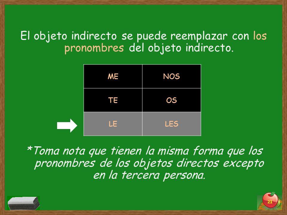 El objeto indirecto se puede reemplazar con los pronombres del objeto indirecto. *Toma nota que tienen la misma forma que los pronombres de los objetos directos excepto en la tercera persona.