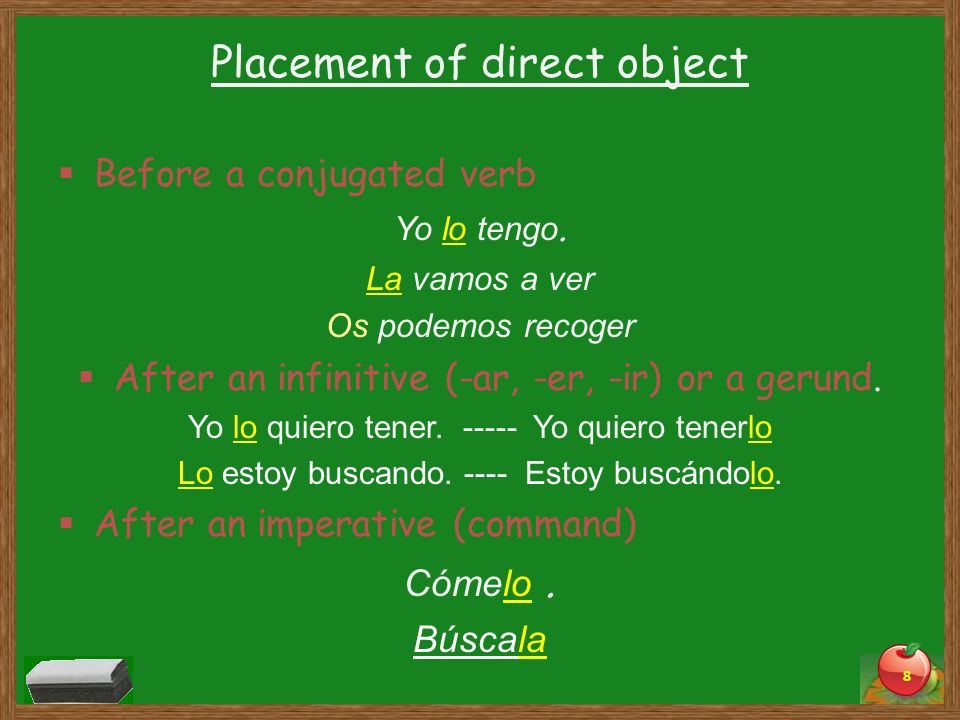 Placement of direct object