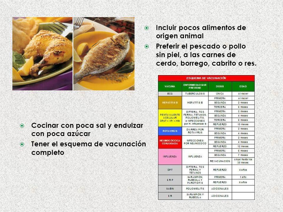 Incluir pocos alimentos de origen animal