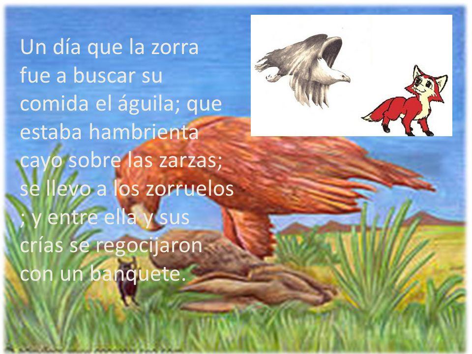 Un día que la zorra fue a buscar su comida el águila; que estaba hambrienta cayo sobre las zarzas; se llevo a los zorruelos ; y entre ella y sus crías se regocijaron con un banquete.