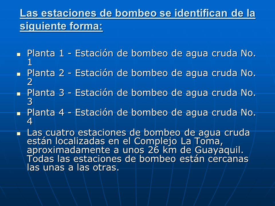 Las estaciones de bombeo se identifican de la siguiente forma: