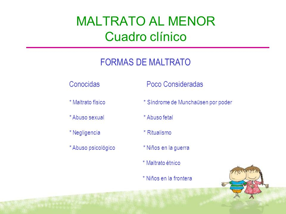 MALTRATO AL MENOR Cuadro clínico