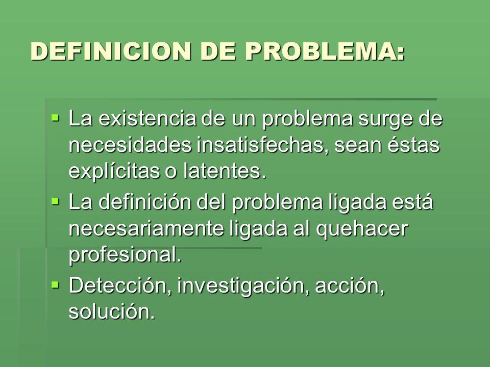 DEFINICION DE PROBLEMA: