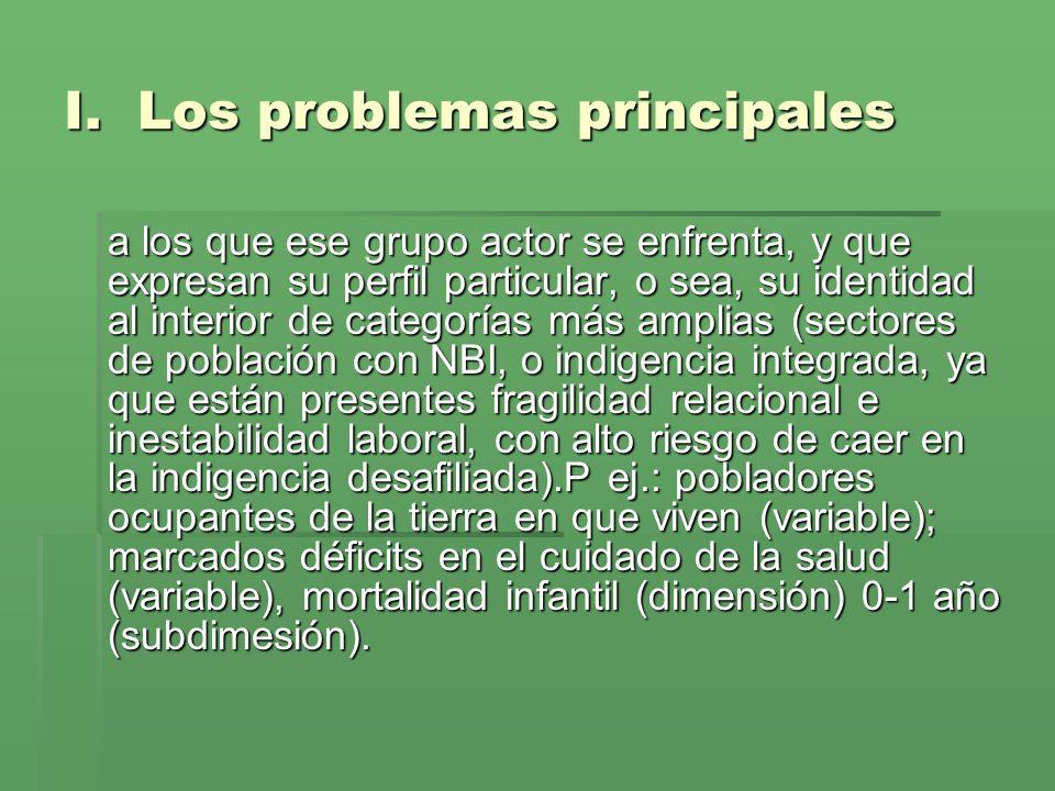 I. Los problemas principales