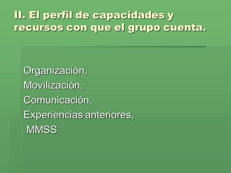 II. El perfil de capacidades y recursos con que el grupo cuenta.