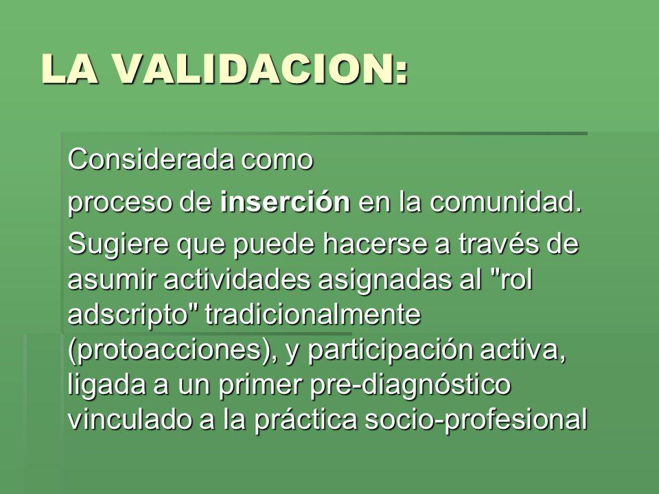 LA VALIDACION: Considerada como proceso de inserción en la comunidad.