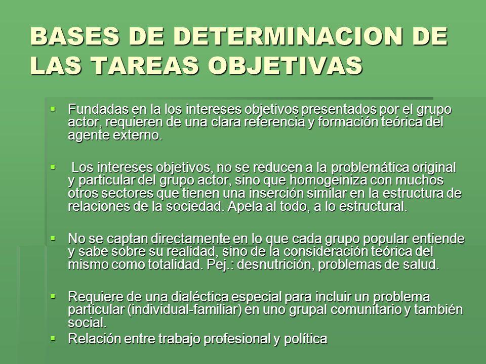 BASES DE DETERMINACION DE LAS TAREAS OBJETIVAS