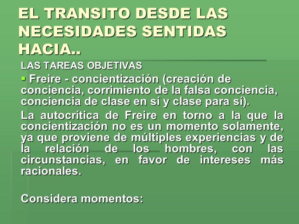 EL TRANSITO DESDE LAS NECESIDADES SENTIDAS HACIA..