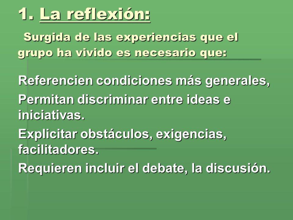 La reflexión: Surgida de las experiencias que el grupo ha vivido es necesario que: