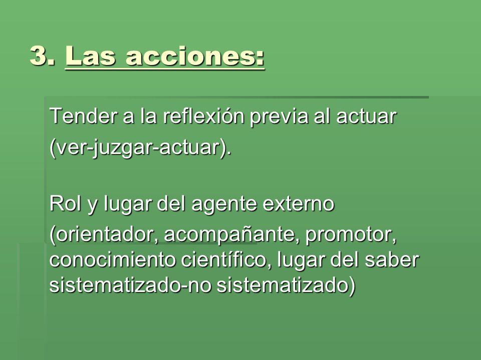 3. Las acciones: Tender a la reflexión previa al actuar