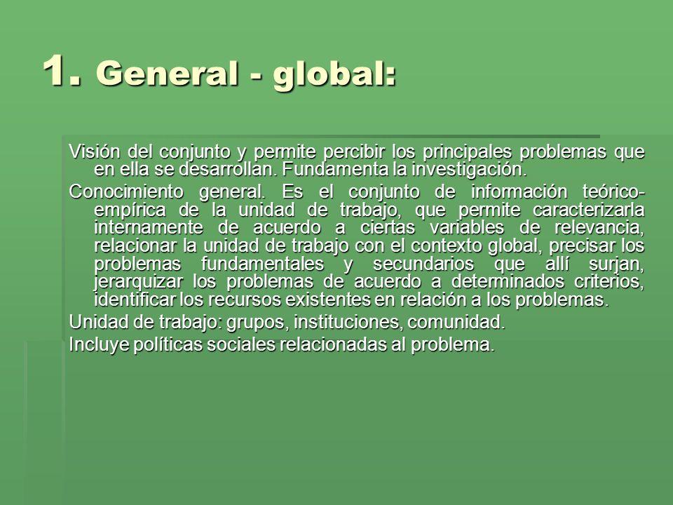 1. General - global: Visión del conjunto y permite percibir los principales problemas que en ella se desarrollan. Fundamenta la investigación.