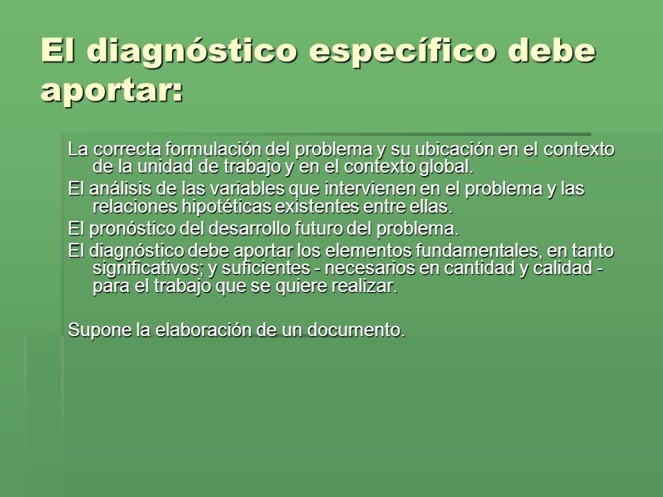 El diagnóstico específico debe aportar: