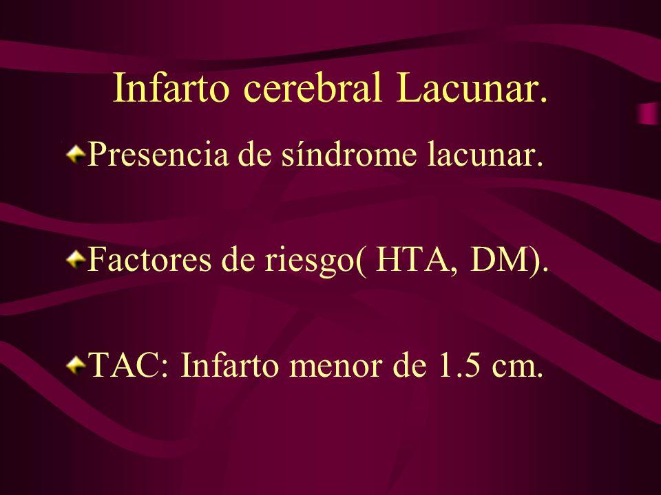 Infarto cerebral Lacunar.