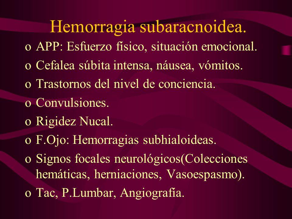 Hemorragia subaracnoidea.
