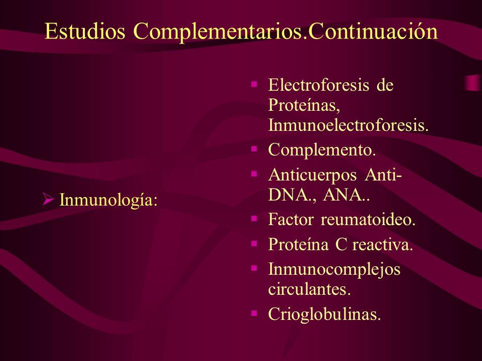 Estudios Complementarios.Continuación