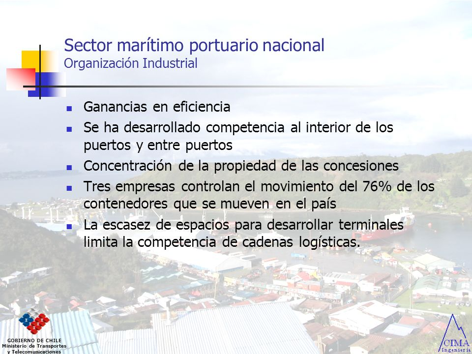 Sector marítimo portuario nacional Organización Industrial