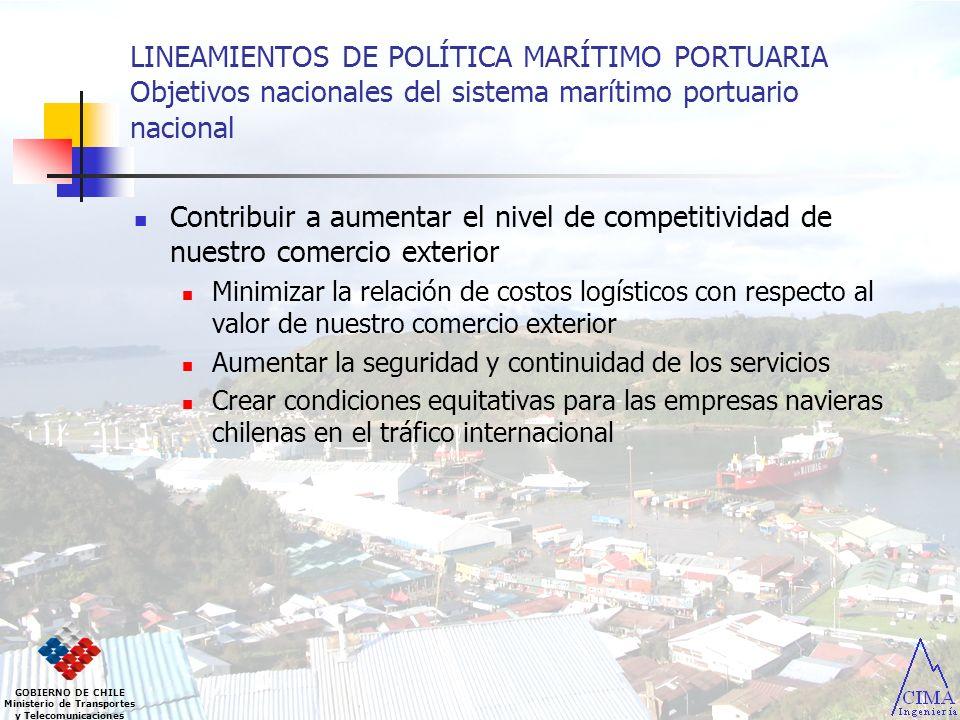 LINEAMIENTOS DE POLÍTICA MARÍTIMO PORTUARIA Objetivos nacionales del sistema marítimo portuario nacional