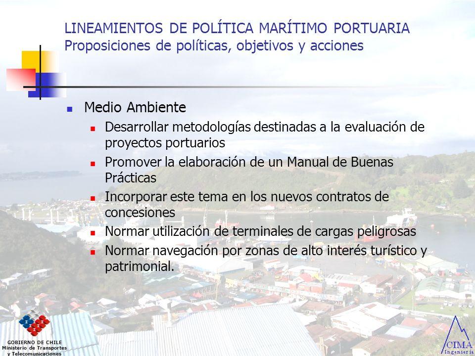 LINEAMIENTOS DE POLÍTICA MARÍTIMO PORTUARIA Proposiciones de políticas, objetivos y acciones