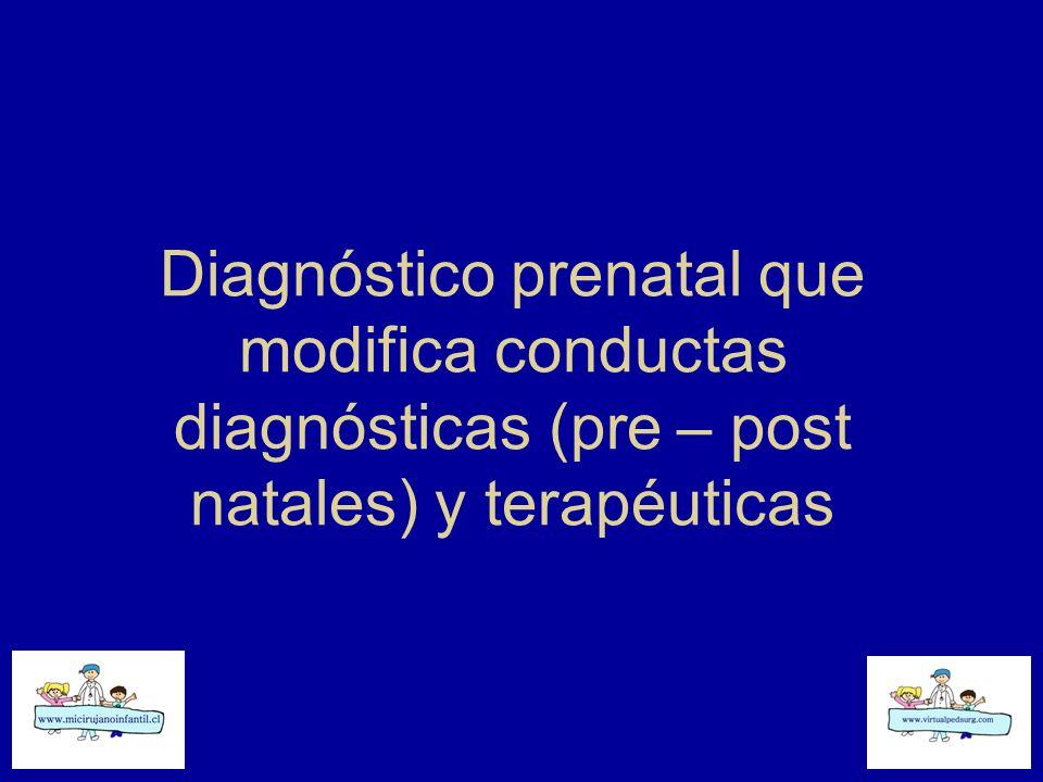 Diagnóstico prenatal que modifica conductas diagnósticas (pre – post natales) y terapéuticas