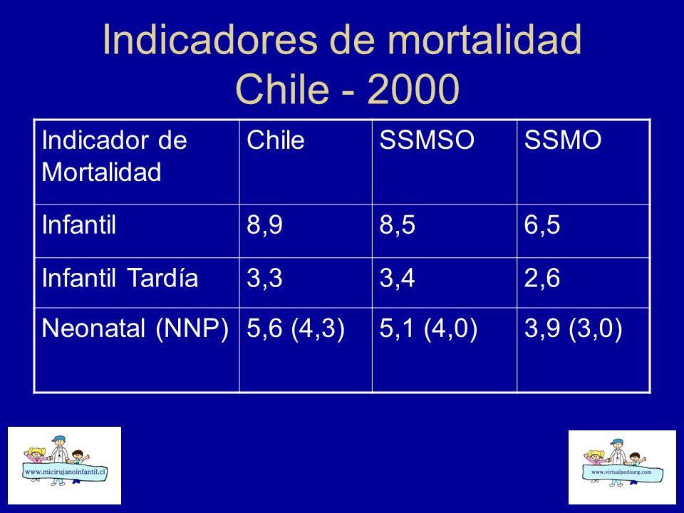 Indicadores de mortalidad Chile - 2000