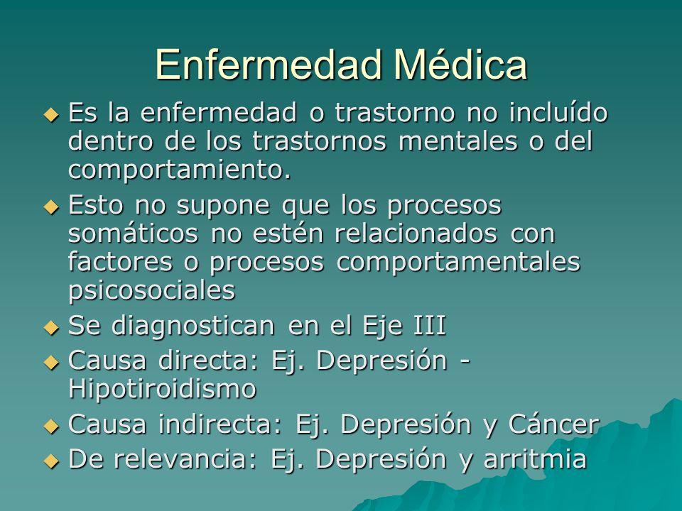 Enfermedad Médica Es la enfermedad o trastorno no incluído dentro de los trastornos mentales o del comportamiento.