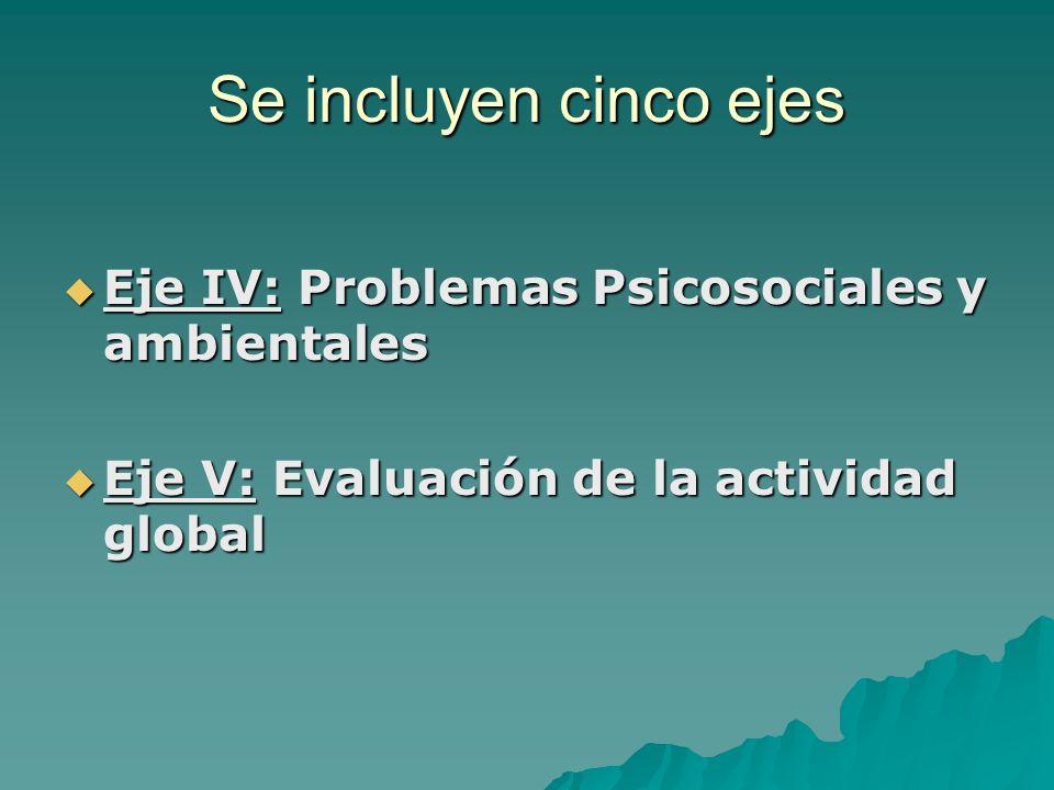 Se incluyen cinco ejes Eje IV: Problemas Psicosociales y ambientales