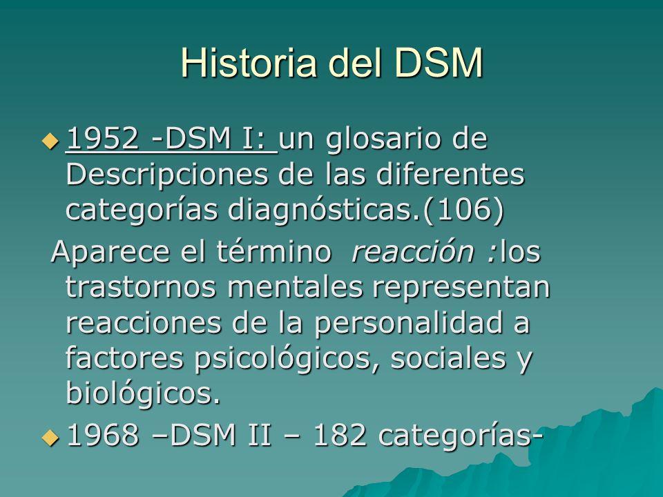 Historia del DSM 1952 -DSM I: un glosario de Descripciones de las diferentes categorías diagnósticas.(106)