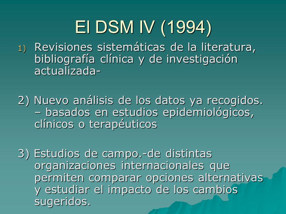 El DSM IV (1994) Revisiones sistemáticas de la literatura, bibliografía clínica y de investigación actualizada-