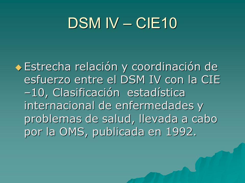 DSM IV – CIE10