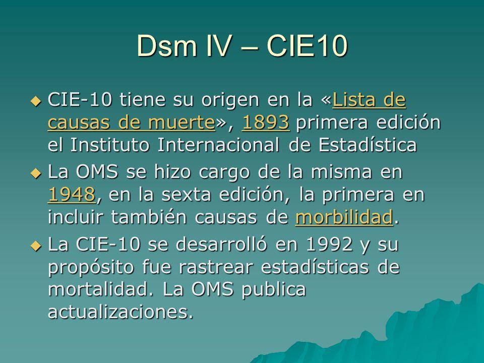 Dsm IV – CIE10 CIE-10 tiene su origen en la «Lista de causas de muerte», 1893 primera edición el Instituto Internacional de Estadística.