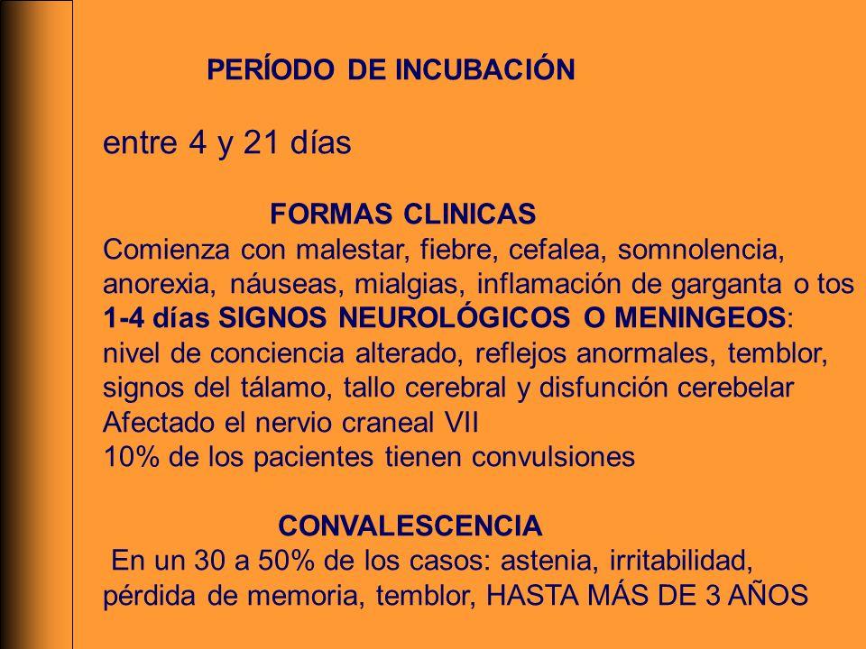 entre 4 y 21 días PERÍODO DE INCUBACIÓN FORMAS CLINICAS