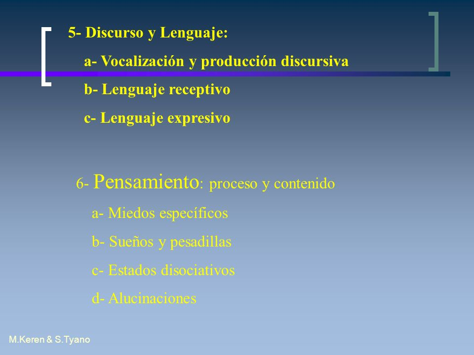 a- Vocalización y producción discursiva b- Lenguaje receptivo