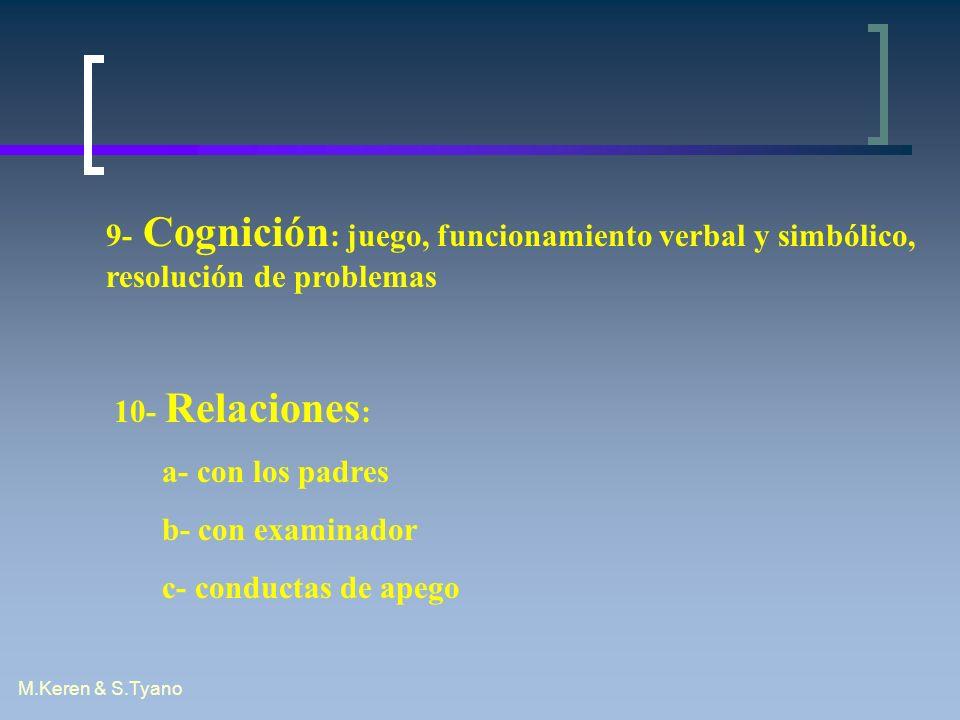 9- Cognición: juego, funcionamiento verbal y simbólico, resolución de problemas