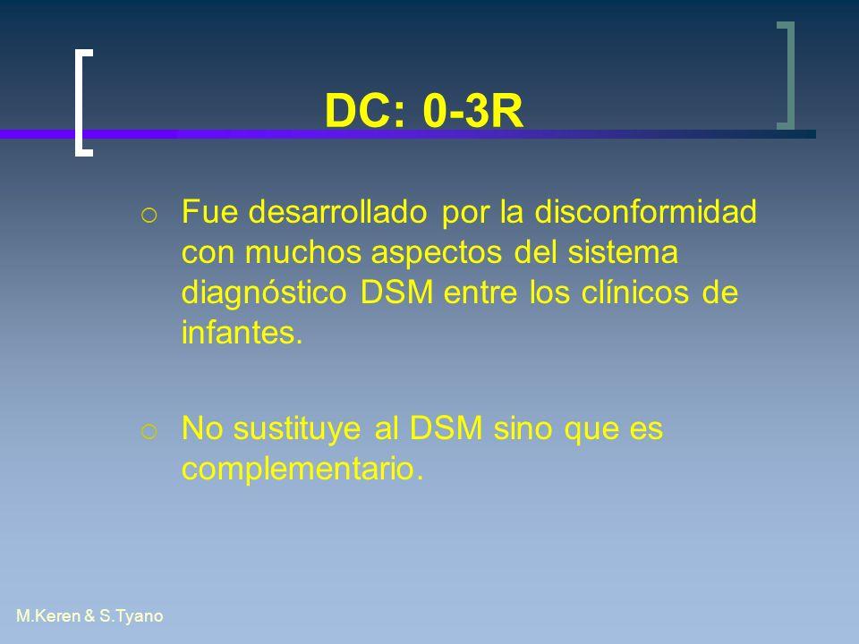 DC: 0-3R Fue desarrollado por la disconformidad con muchos aspectos del sistema diagnóstico DSM entre los clínicos de infantes.