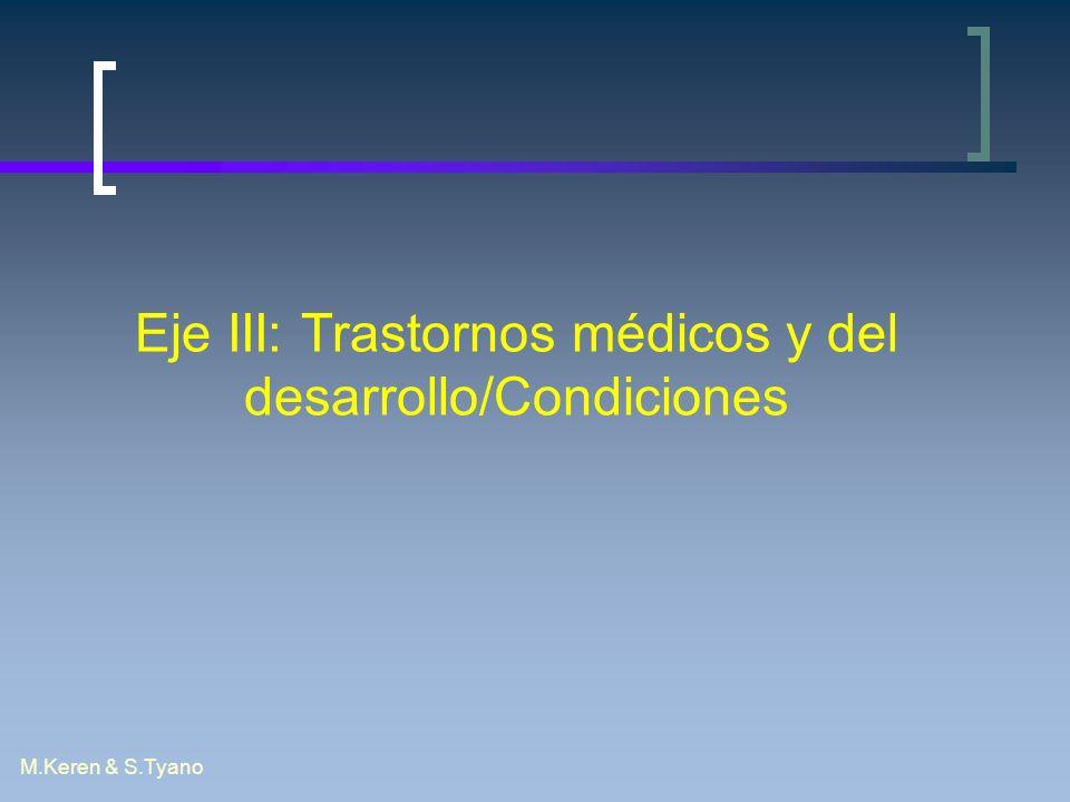 Eje III: Trastornos médicos y del desarrollo/Condiciones