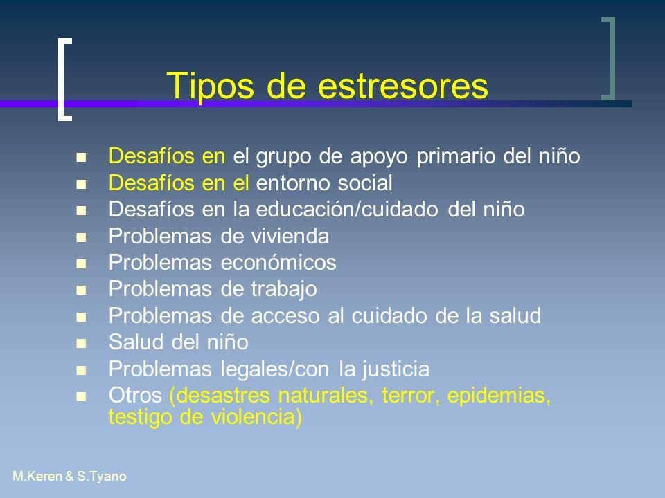 Tipos de estresores Desafíos en el grupo de apoyo primario del niño