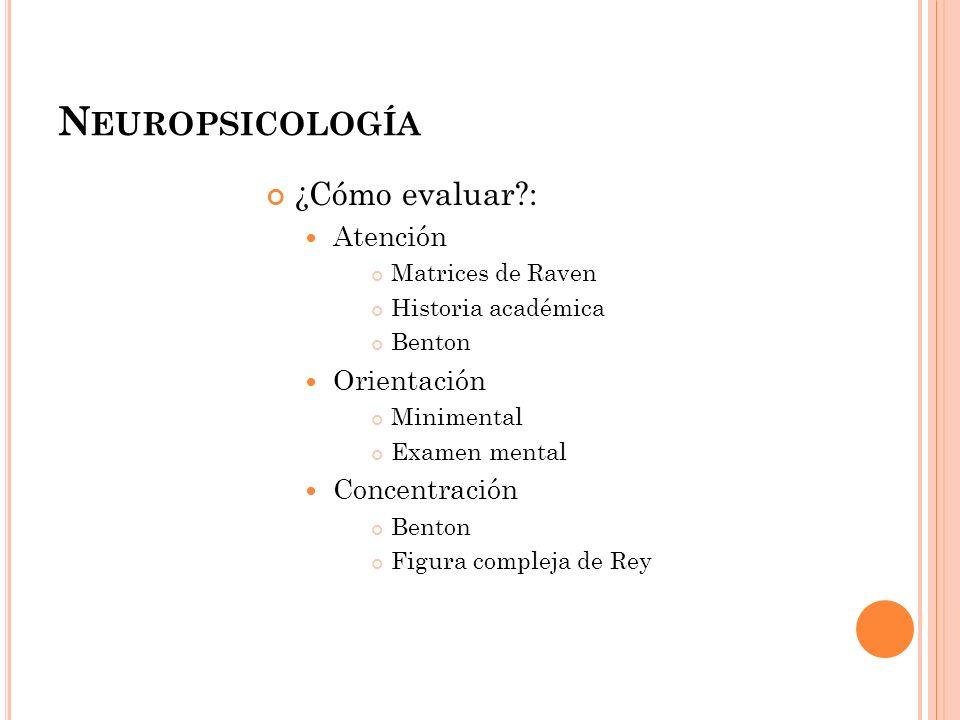 Neuropsicología ¿Cómo evaluar : Atención Orientación Concentración