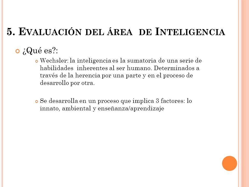 5. Evaluación del área de Inteligencia