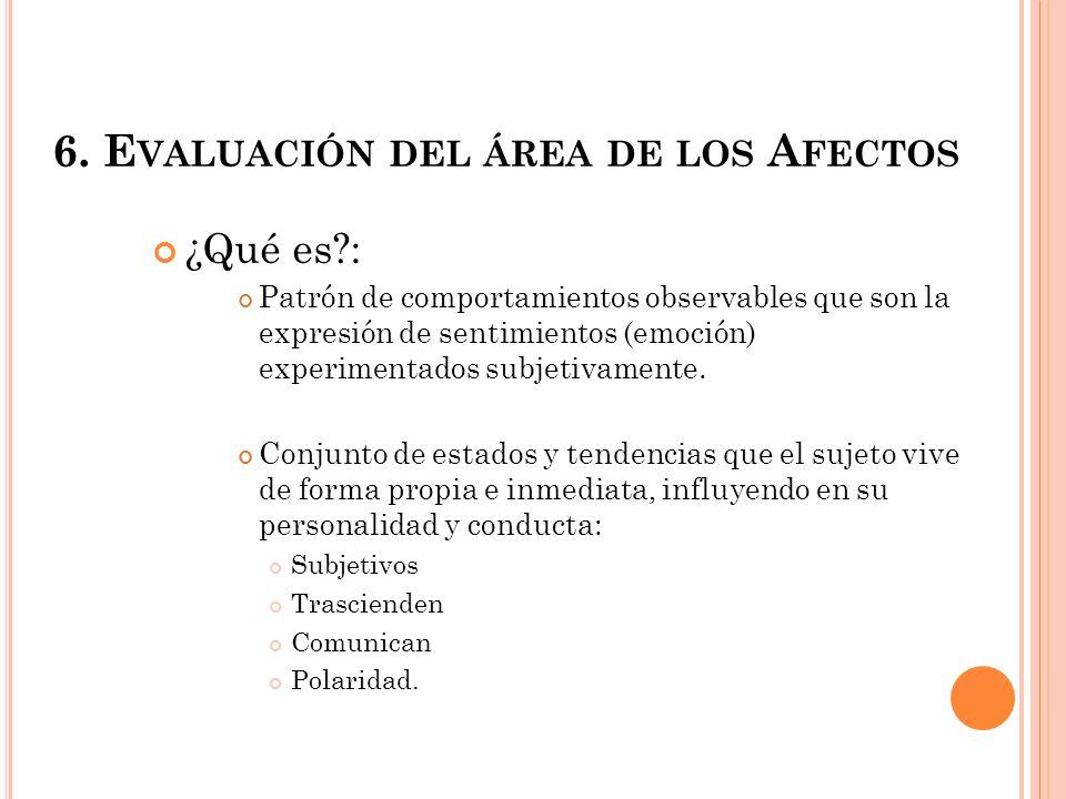6. Evaluación del área de los Afectos