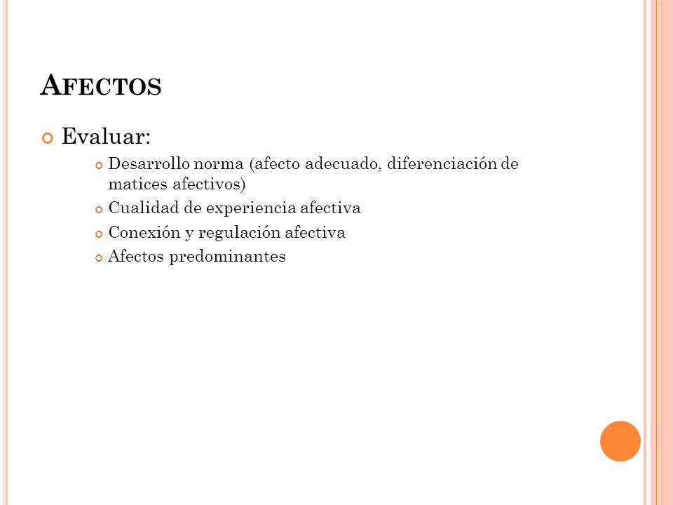 Afectos Evaluar: Desarrollo norma (afecto adecuado, diferenciación de matices afectivos) Cualidad de experiencia afectiva.