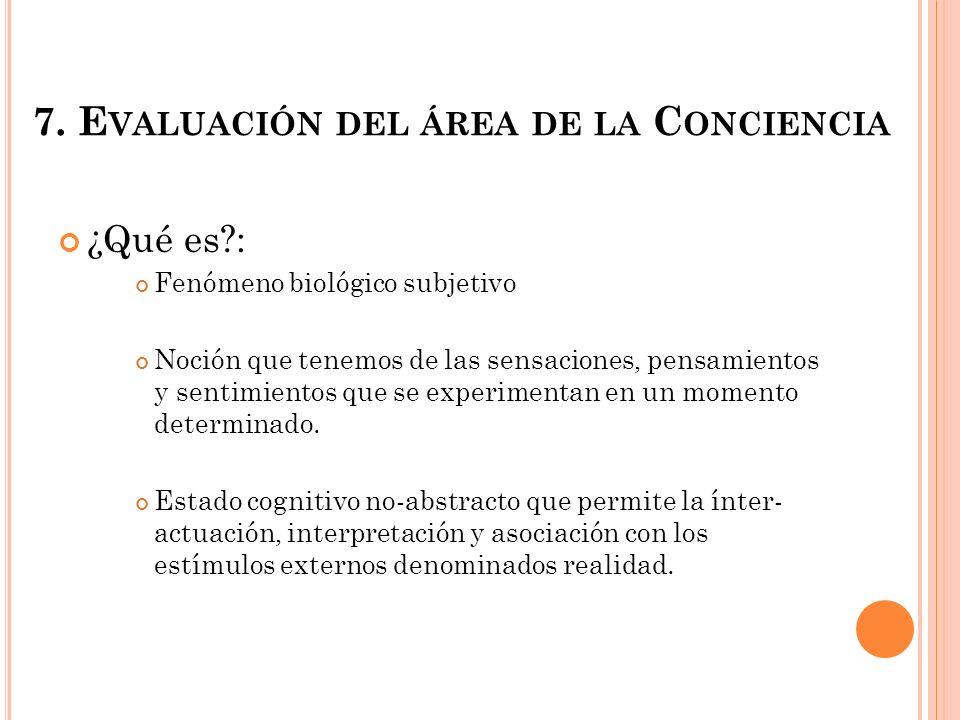 7. Evaluación del área de la Conciencia