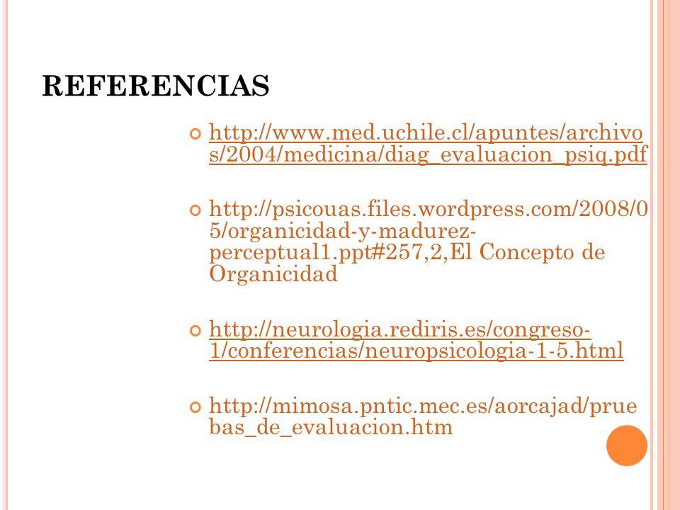 REFERENCIAS http://www.med.uchile.cl/apuntes/archivo s/2004/medicina/diag_evaluacion_psiq.pdf.