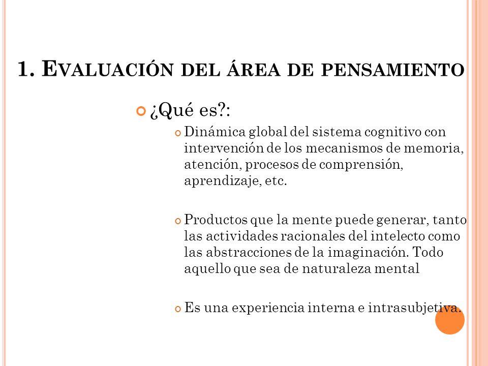 1. Evaluación del área de pensamiento