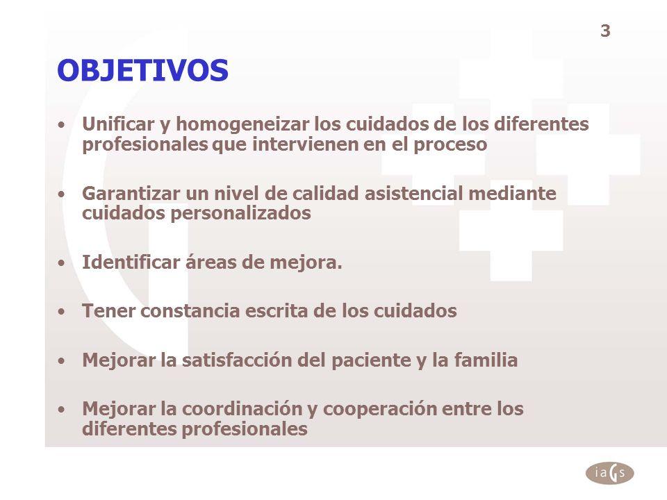 OBJETIVOS Unificar y homogeneizar los cuidados de los diferentes profesionales que intervienen en el proceso.