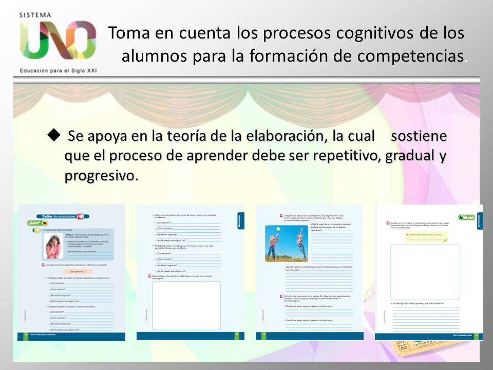 Toma en cuenta los procesos cognitivos de los