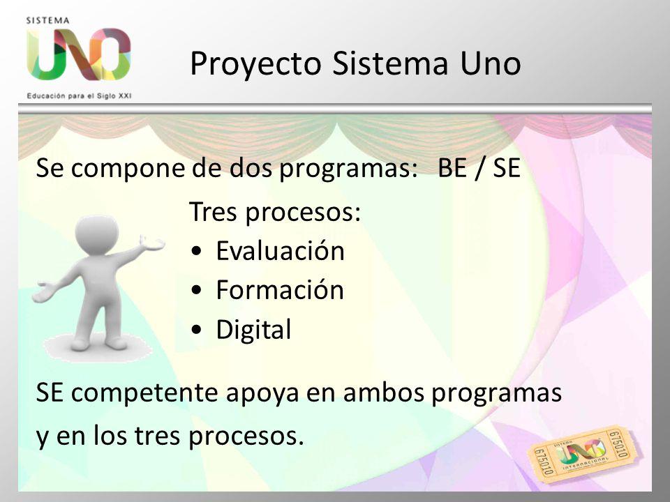 Proyecto Sistema Uno Se compone de dos programas: BE / SE